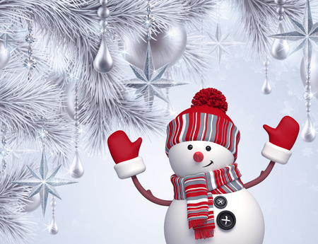 winter tree: 3d snowman, Christmas tree hanging ornaments, greeting card, holiday silver background