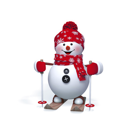 3d snowman skiing, Christmas, New Year clip art isolated on white background