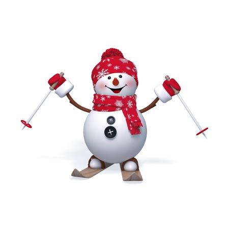 3d sněhulák lyžování, Vánoce, Nový rok klipartů izolovaných na bílém pozadí Reklamní fotografie