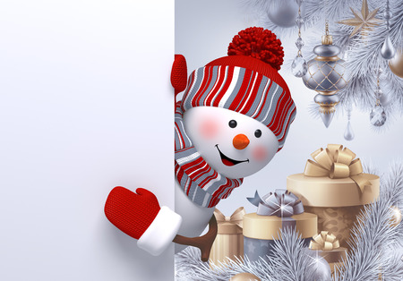 cartoon banner: 3d snowman, gift boxes, Christmas background, new year greeting card, fir tree ornaments, blank banner Stock Photo