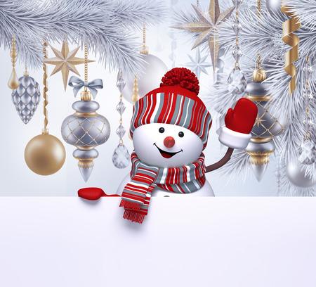 3d sneeuwman, Kerst achtergrond, nieuw jaar wenskaart, spar ornamenten, lege banner Stockfoto - 66324096