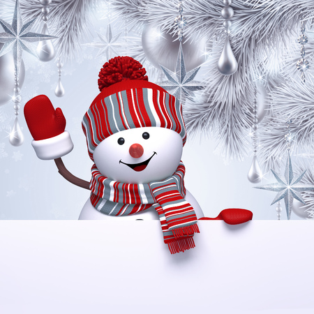 winter tree: 3d snowman, Christmas background, new year greeting card, fir tree ornaments, blank banner Stock Photo