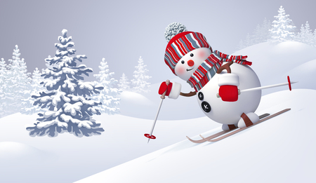 3d snowman skiing, sliding downhill, Christmas, New Year clip art, winter nature, snowy forest