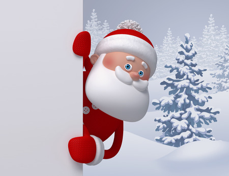 3d render, digital illustration, Santa Claus looking out, winter nature, snowy forest landscape, Christmas background, greeting card template, blank banner 스톡 콘텐츠