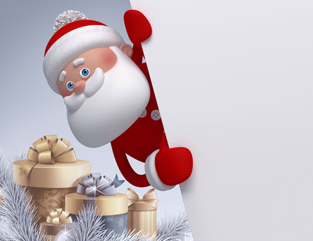 3d render, digital illustration, Santa Claus character, gift boxes, winter holidays, silver background, blank banner, greeting card template