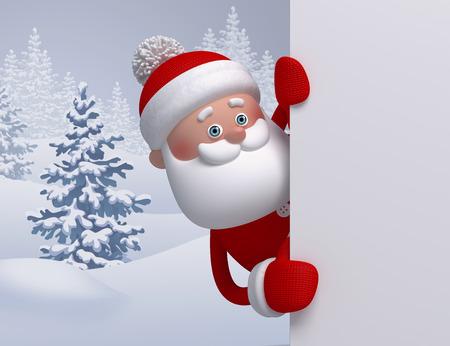 3d render, digitální ilustrace, Santa Claus hledá ven, zimní přírodě, zasněžené lesní krajiny, Vánoční pozadí, šablony blahopřání, prázdné banner Reklamní fotografie