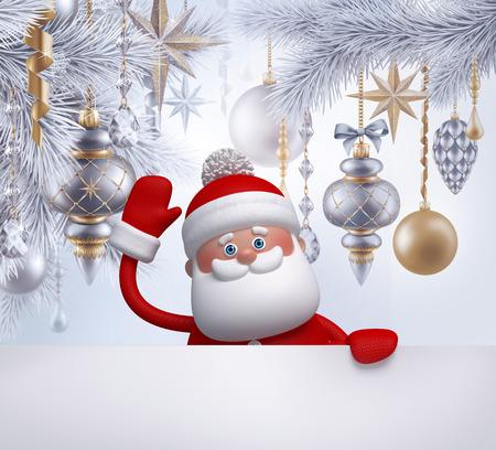 coniferous forest: 3d, ilustración digital, personaje de Santa Claus, decoración del árbol de Navidad, adornos colgantes, bolas, vacaciones de invierno, fondo de plata, la bandera en blanco, plantilla de la tarjeta de felicitación