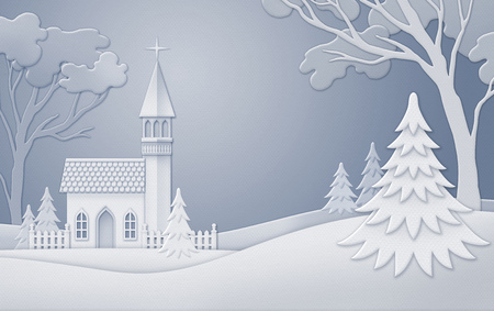 paper arts and crafts: digital illustration, winter nature background, silent night, church, white Christmas nature, paper cut, quilling, New Year greeting card