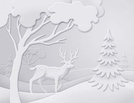 digital paper: digital illustration, winter forest background, wild deer, white Christmas nature, paper cut, quilling, New Year greeting card