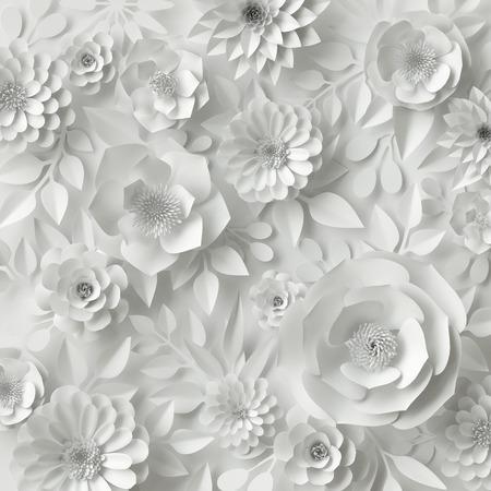 3d, digitale Illustration, weißes Papier Blumen, Blumen Hintergrund, Brautstrauß, Hochzeitskarte, Quilling, Grußkarte Vorlage machen Standard-Bild