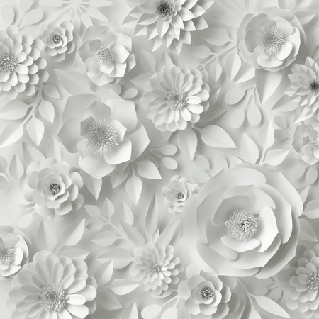 3d render, digital illustration, white paper flowers, floral background, bridal bouquet, wedding card, quilling, greeting card template Foto de archivo