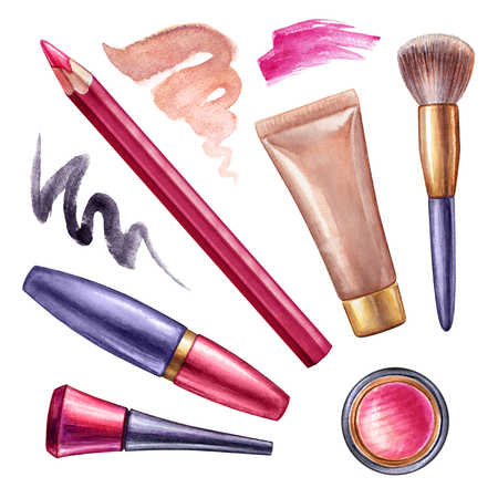 watercolor illustration, make up clip art, cosmetics, design elements set, fashion trend, isolated objects, brush strokes, white background Stock Photo