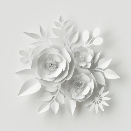 3 d レンダリング、デジタル イラスト、ホワイト ペーパーの花、花の背景、ブライダル ブーケ、ウェディング カード、バレンタインデーのクイリン