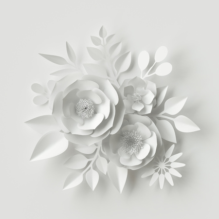 3d render, digital illustration, white paper flowers, floral background, bridal bouquet, wedding card, Valentine's day quilling, greeting card template Foto de archivo