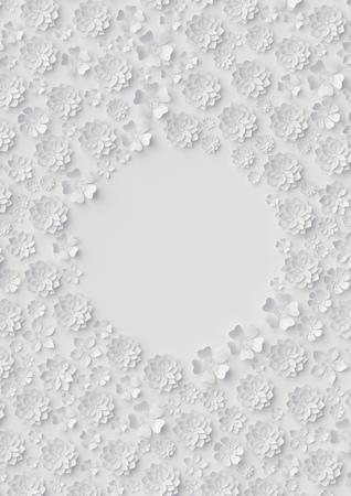 3d render, digital illustration, white paper flowers, floral background, bridal template, wedding card, quilling, Valentine's day greeting card, blank banner, round frame