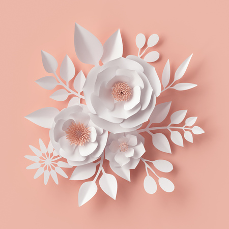 3d render, digital illustration, white paper flowers, blush pink wall decor, floral background, bridal bouquet, wedding, quilling, Valentine's day greeting card