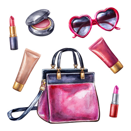 watercolor illustration, make up design elements, fashion trend, isolated cosmetics objects, bag, purse, lipstick, sunglasses, white background