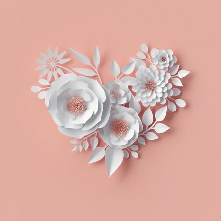 디지털 일러스트 레이 션, 흰색 종이 꽃, 3d 렌더링 핑크 벽 장식, 꽃 배경, 신부 부케, 웨딩, 관상 주름을 달기, 발렌타인 데이 인사말 카드, 심장 모양