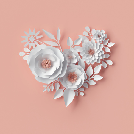 3d render, digital illustration, white paper flowers, blush pink wall decor, floral background, bridal bouquet, wedding, quilling, Valentines day greeting card, heart shape