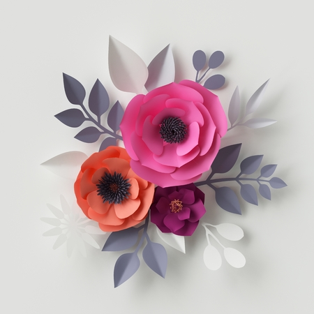 3d illustration, pink paper flowers, bridal bouquet, floral background, decorative wall, Valentines day