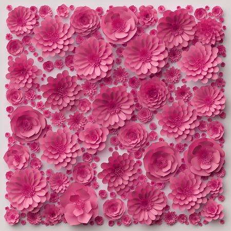 Fleures: 3d illustration, fleurs en papier rose papier peint, fond floral, mur décoratif, jour de la Saint-Valentin