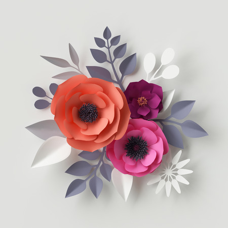 3d render, digital illustration, red pink paper flowers, floral background, wedding card, quilling, Valentine's day greeting card template, bridal bouquet, romantic composition Stock Illustration - 70199183