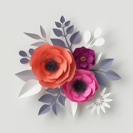 3d render, illustration numérique, rouge fleurs en papier rose, fond floral, carte de mariage, quilling, le modèle de jour carte de voeux de la Saint-Valentin, bouquet de mariée, composition romantique