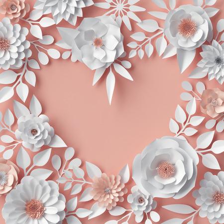 3 차원 렌더링, 디지털 일러스트 레이션, 핑크, 백서 꽃, 꽃 배경, 신부의 꽃다발, 결혼식, quilling, 발렌타인 인사말 카드, 빈 배너, 심장 모양, 표지 템플 스톡 콘텐츠