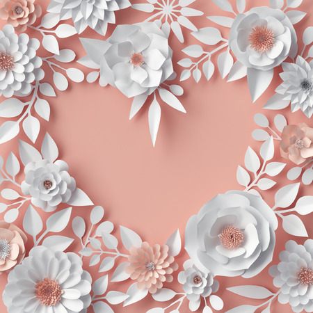 3d render, digital illustration, blush pink, white paper flowers, floral background, bridal bouquet, wedding, quilling, Valentine's day greeting card, blank banner, heart shape, cover page template