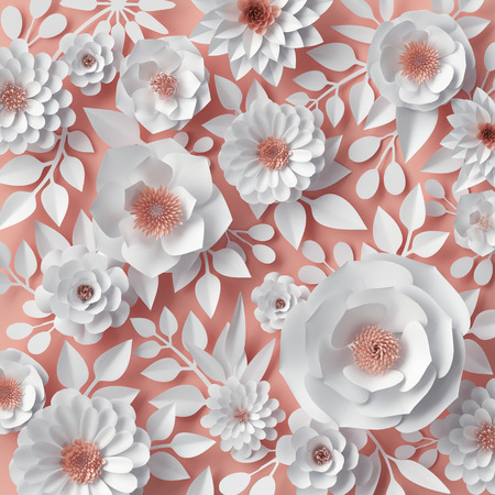 3d render, digital illustration, white paper flowers, bridal bouquet, wedding card, quilling, Valentines day greeting card, garden blooming wall