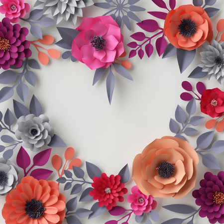 3d render, digital illustration, red pink orange paper flowers, floral background, bridal bouquet, wedding card, quilling, Valentine's day greeting card template, blank banner, heart shape, cover page template