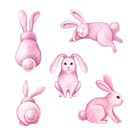 watercolor illustration, pink cute bunny, Easter rabbit, nursery artwork, kids animal, holiday clip art isolated on white background