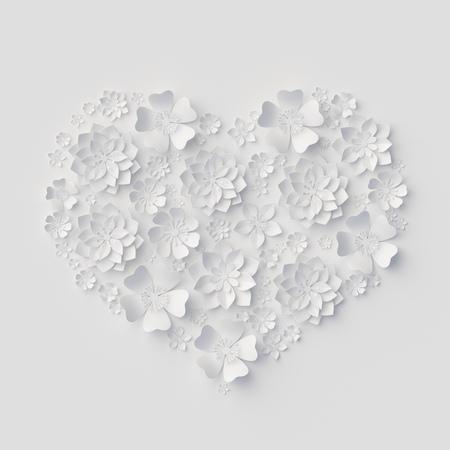 3d, ilustración digital, flores de papel blanco, fondo floral, ramo de novia, invitación de boda, quilling, plantilla de la tarjeta de felicitación del día de San Valentín, la forma del corazón Foto de archivo - 70199192