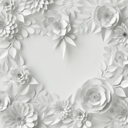 디지털 일러스트 레이 션, 흰색 종이 꽃, 꽃 배경, 신부 부케, 웨딩 카드, 관상 주름을 달기, 발렌타인 데이 인사말 카드 서식 파일, 빈 배너, 심장 모양 3