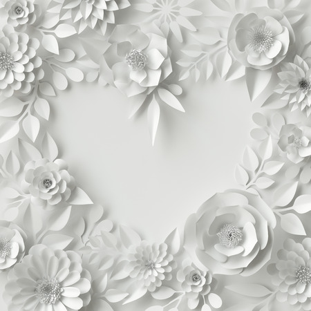 3d render, digital illustration, white paper flowers, floral background, bridal bouquet, wedding card, quilling, Valentines day greeting card template, blank banner, heart shape
