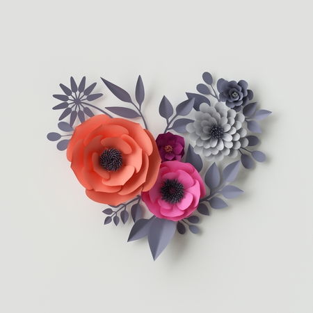 3d illustration, pink red paper flowers, floral background, bridal bouquet, wedding card, quilling, Valentines day greeting card, heart shape