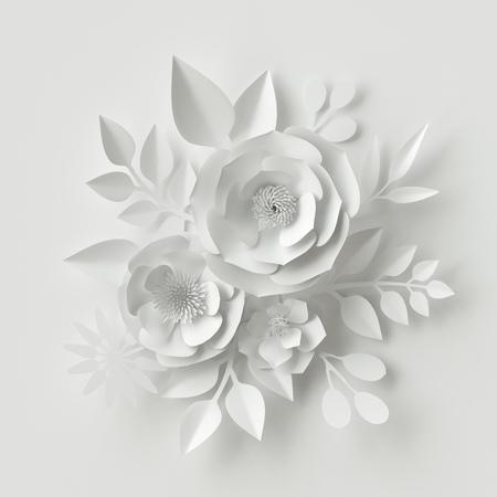 3d render, digital illustration, white paper flowers, floral background, bridal bouquet, wedding card, Valentine's day quilling, greeting card template Foto de archivo