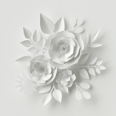 3d render, digital illustration, white paper flowers, floral background, bridal bouquet, wedding card, Valentine's day quilling, greeting card template Stockfoto