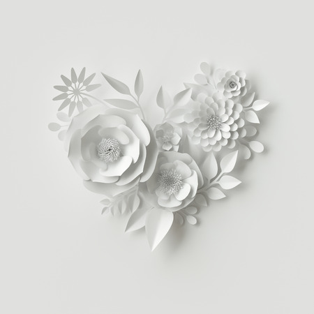 3d render, digital illustration, white paper flowers, floral background, bridal bouquet, wedding card, quilling, Valentine's day greeting card, heart shape