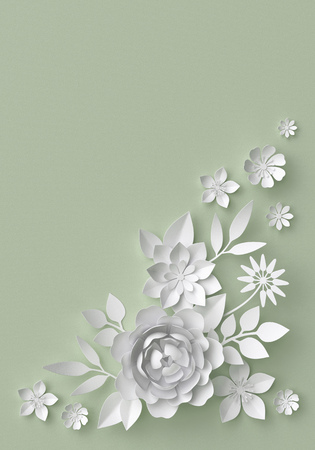 white lilly: 3d illustration, white paper flowers, decorative floral background, wedding album page, greeting card Stock Photo