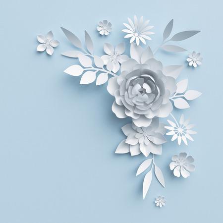 Ilustración 3d, flores blancas de papel, decoración floral de fondo, página álbum de boda, tarjeta de felicitación Foto de archivo - 70199298