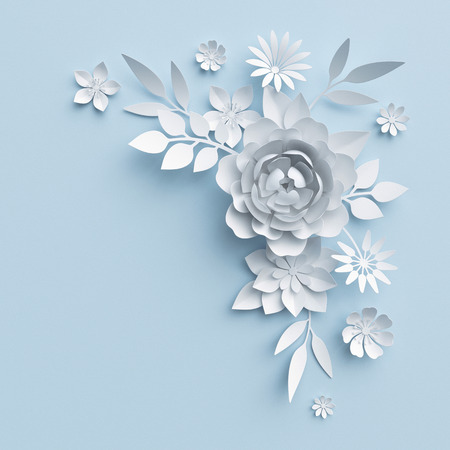 3d illustration, white paper flowers, decorative floral background, wedding album page, greeting card Foto de archivo