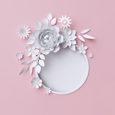 3d illustration, white paper flowers, decorative floral background, wedding album page, greeting card Imagens