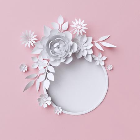 Ilustración 3d, flores blancas de papel, decoración floral de fondo, página álbum de boda, tarjeta de felicitación Foto de archivo - 70155303