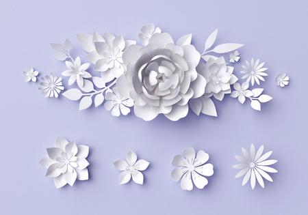 3D 그림, 흰색 종이 꽃, 장식 꽃 배경, 웨딩 앨범 페이지, 인사말 카드 스톡 콘텐츠