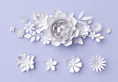 3d illustration, white paper flowers, decorative floral background, wedding album page, greeting card 스톡 콘텐츠