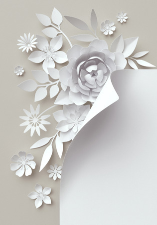 album page: 3d illustration, white paper flowers, decorative floral background, wedding album page, greeting card Stock Photo
