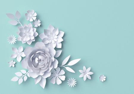 Illustration 3D, fleurs en papier blanc, fond floral décoratif, page d'album de mariage, carte de voeux Banque d'images - 70199301