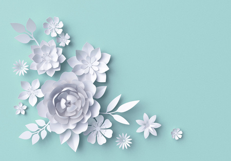 3d illustration, white paper flowers, decorative floral background, wedding album page, greeting card Stock Photo