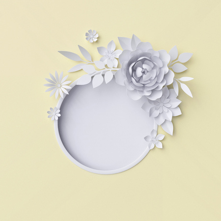 3d illustration, white paper flowers, decorative floral background, wedding album page, greeting card Archivio Fotografico